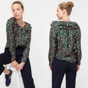 🍋 J. Crew Mushroom Silk Twill Ruffle Shirt Blouse